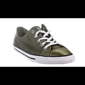 Converse All Star Satin Look Olive Sneaker